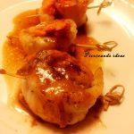 Brocheta de panga con salmón marinado en salsa de pomelo