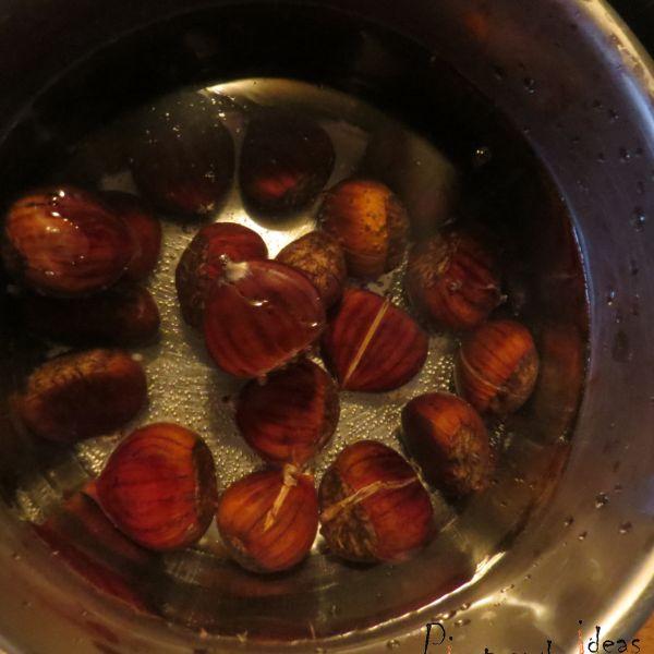 Jarrete de ternera con crema de castañas
