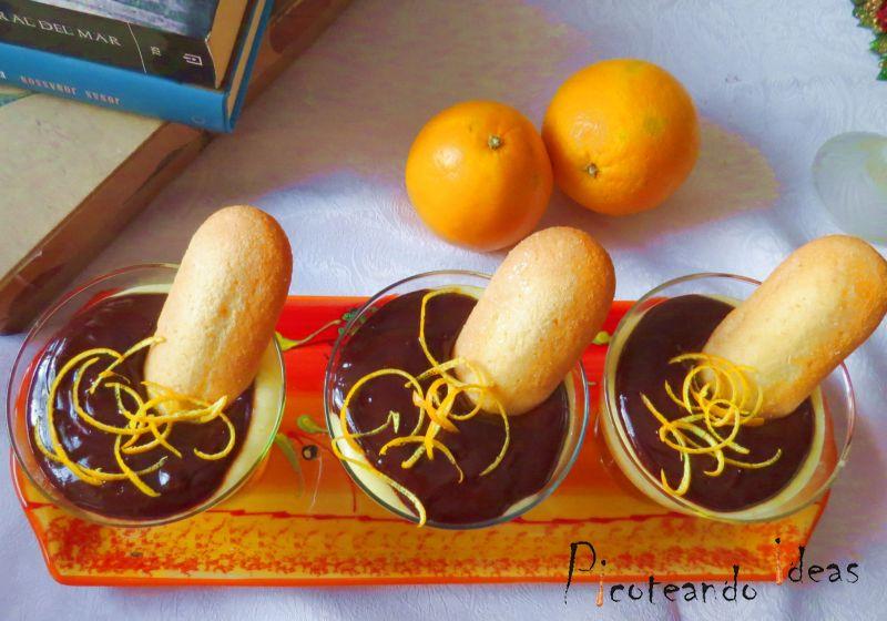 copa de crema de naranja con chocolate