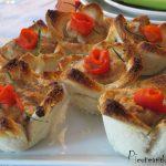Tartaleta de pan con crema de queso y panceta