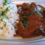Carne estofada al pimenton con arroz
